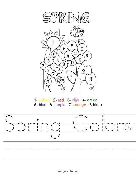 Spring Colors Worksheet - Twisty Noodle   Spring colors ...