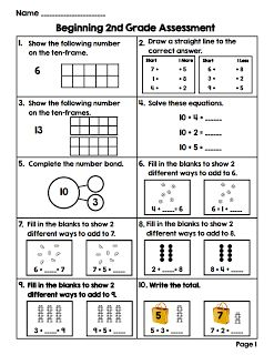 2nd grade pre- math assessment. Use for assessment to show growth from the beginning to the end of the year.
