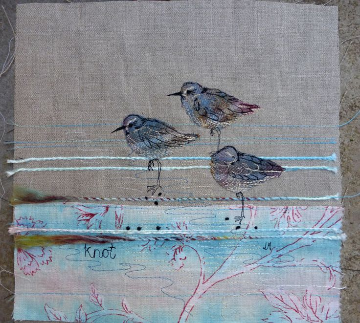 Knots, hand dyed fabrics, free motion embroidery.