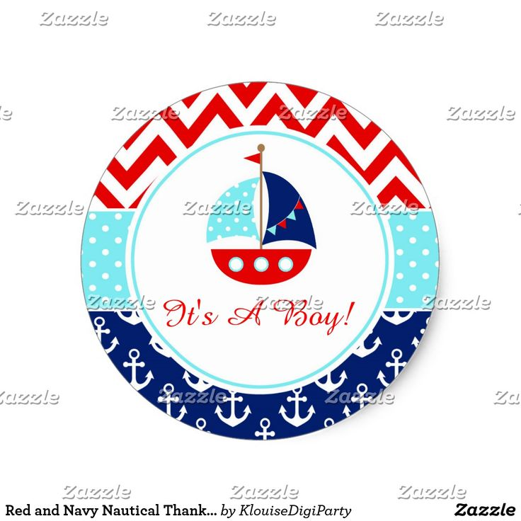 Red and Navy Nautical Thank You Baby Shower Classic Round Sticker