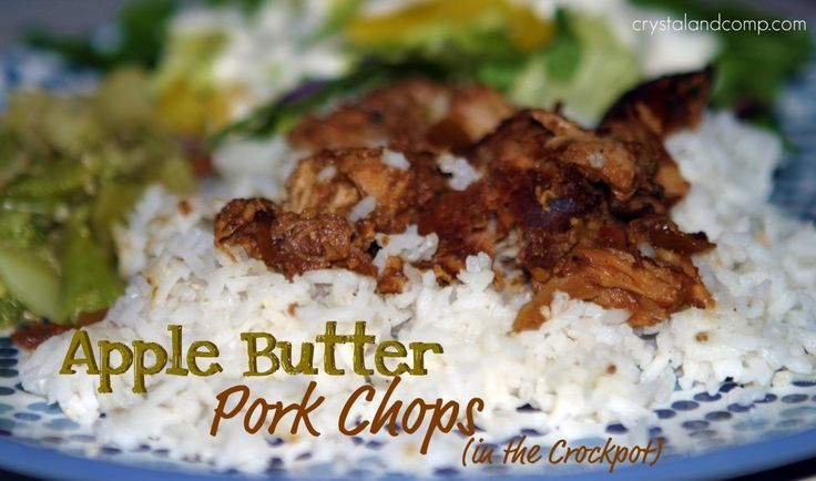 Apple Butter Pork Chops in the Slow Cooker