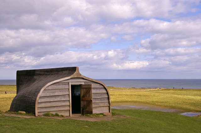 The Holy Island of Lindisfarne's traditional sheds, made of upturned fishing boats