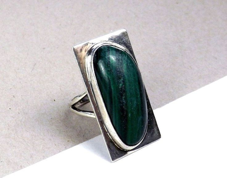 Sterling Silver Malachite Mid Century Modernist Southwestern Long Size 7 Ring #Artisan #Solitaire