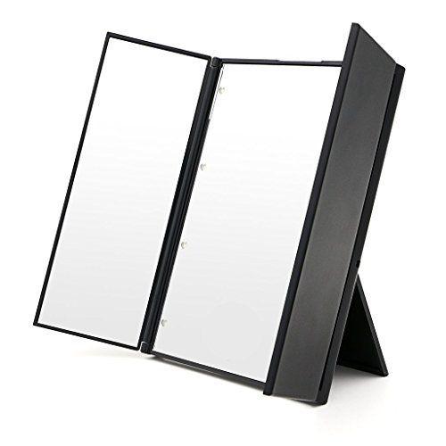 Black Friday Sale 2016 Duomishu 8 LED Miroir de Maquillage Triple Pliant Portable Miroir de Beauté poche lumineux miroir sans fils avec…