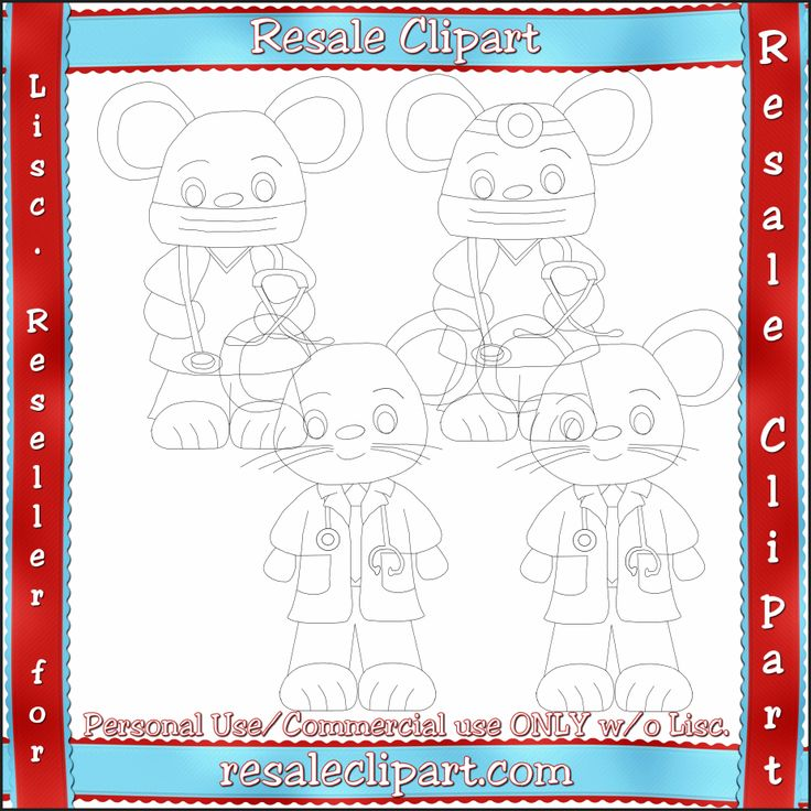 Doctor Mouse Line Art #Clipart