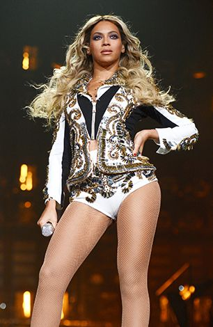 Beyonce performs during 'The Mrs. Carter Show World Tour' at the Barclays Center in New York City.