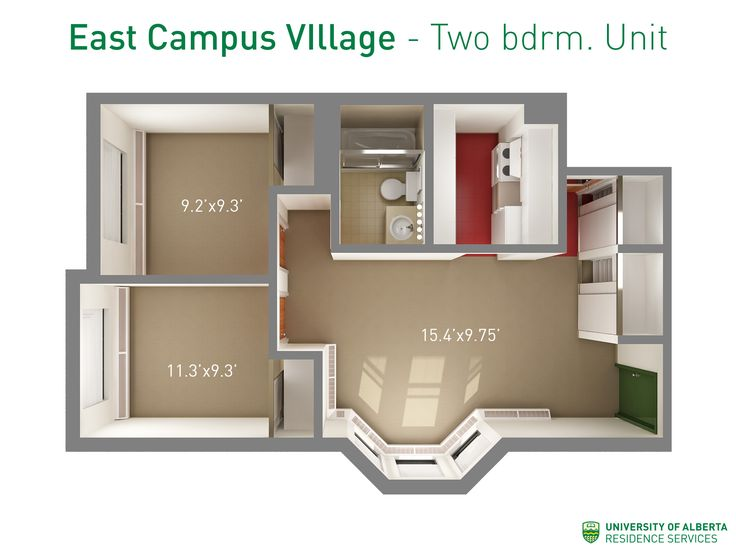 Floorplan with dimensions for two-bedroom units in East Campus Village.