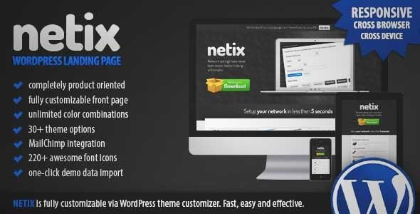 Download and review of Netix – Responsive WordPress Landing Page, one of the best Themeforest Technology themes