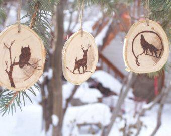 Hout verbrand Wildlife ornamenten-rustieke Kerst ornamenten-teruggewonnen Birch segment ornamenten