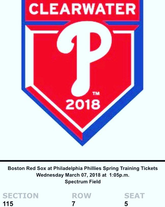 Ticket purchased! 7 rows from the field on the third baseline  19 more days!Baseball  Beer  Spring Training  #baseball #mlb #springtraining #phillies #clearwater #florida #solotrip #singlelife