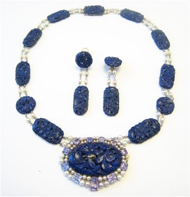 STEVEN NECKMAN- Diamond and Estate Jewelry - A Lapis, Natural Pearls and Amethyst Necklace With Matching Earrings.