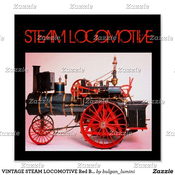 VINTAGE STEAM LOCOMOTIVE Red Black Poster #vehicles #trains #locomotives #loco #steampunk #engine #train #fashion