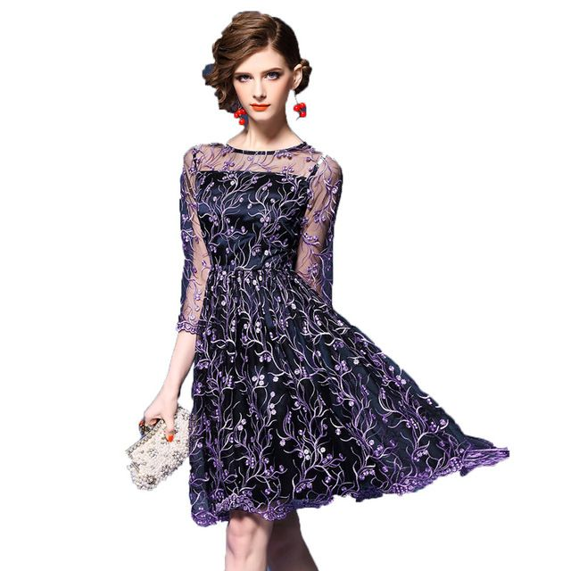 Summer Dresses 2017 European Fashion Women Sexy Floral Embroidery Mesh Slim Sweet Purple Party Dress Vestidos Mujer