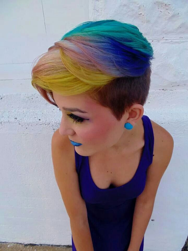 Rainbow pink style cut like me except I don't have rainbow hair