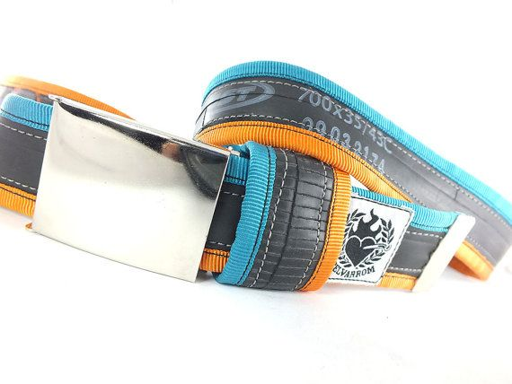 punctured turquoise / orange #recycled #upcycled #inerube #belt for 34 USD by felvarrom