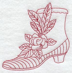 Victorian Boot and Rose (Redwork)