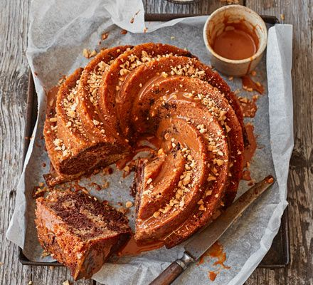 The riper the bananas you use in this beautiful chocolate bundt cake, the more flavour they'll have. A silky smooth peanut butter and caramel topping provides a delicious finishing touch