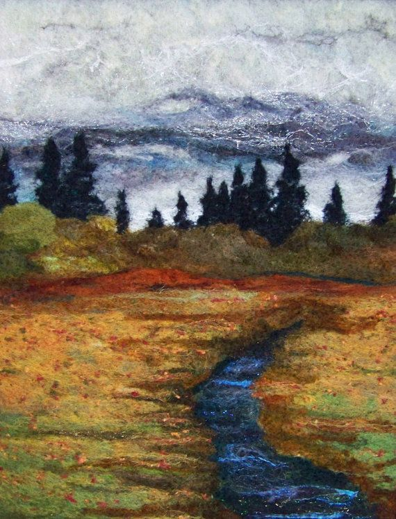 No739 Autumn Day Too  Needlefelt Art XL  Wool Painting by Deebs, $135.00