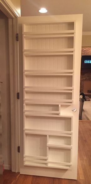 DIY pantry door spice rack - Could use this in the sewing/craft room too!