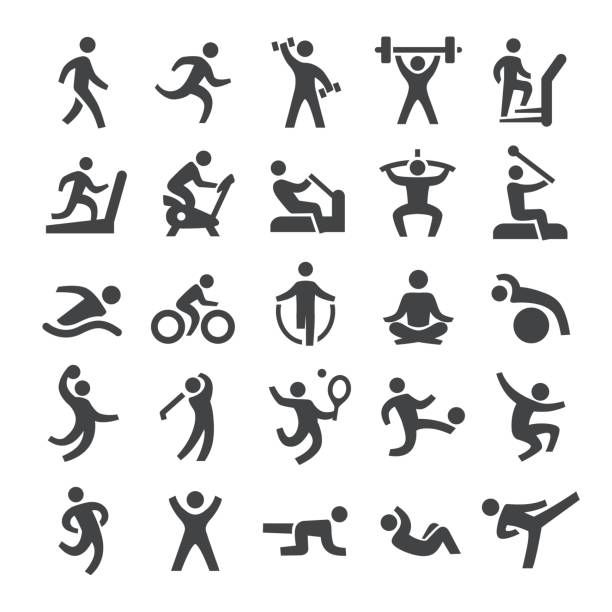 Fitness Method Icons Smart Series Vector Art Illustration Dessin Sport Pictogramme Sport Logos Sportifs