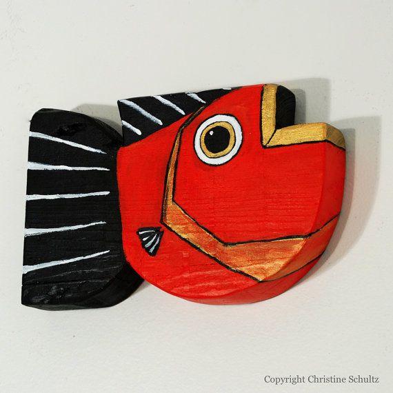 Primitive Folk Art Painted Red Reclaimed Wood Fish