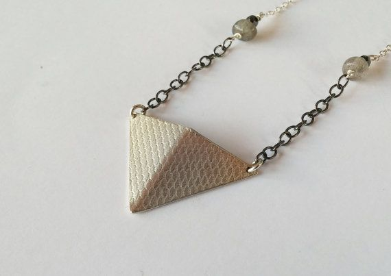 silver triangle necklace labradorite little by LillyOJewellery