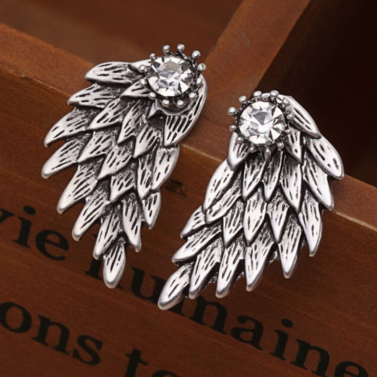 Gothic Angel Wings Stud Earings With Crystal Crown Gem //Price: $7.95 & FREE Shipping //     #goth