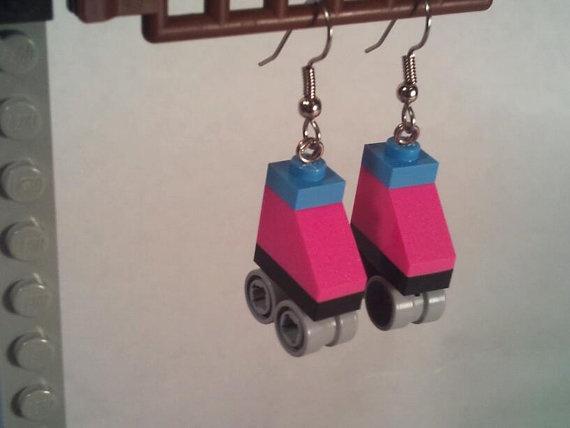 lego roller skate earrings