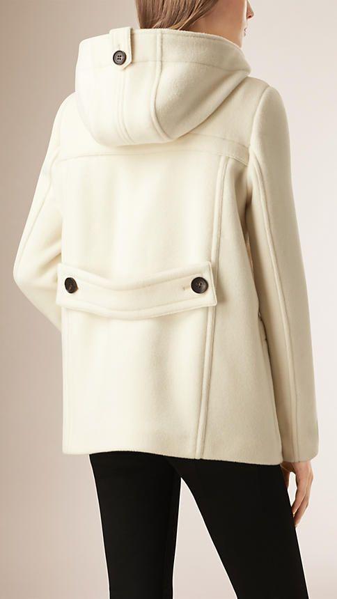 Natural White Hooded Wool Blend Duffle Coat  - Burberry, 2015.