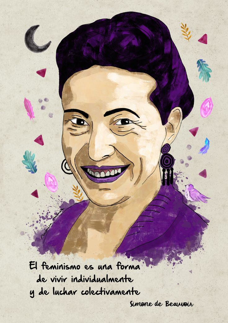 Retrato de Simone de Beauvoir Manual y dígital