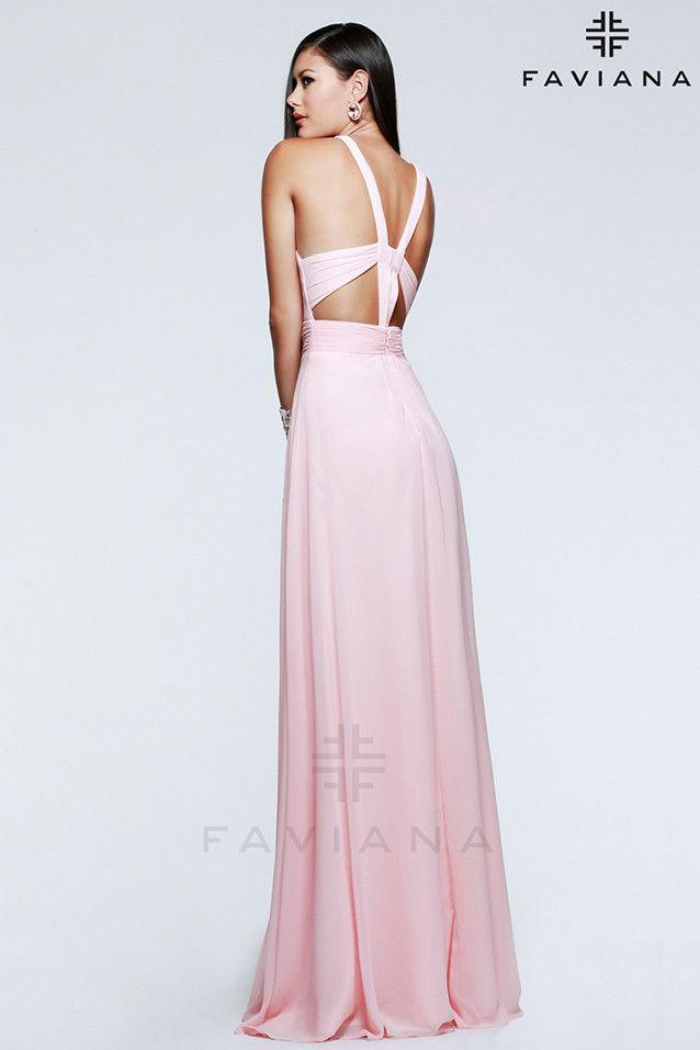 Vestido de fiesta color rosa modelo 7592 by Faviana   Boutique Clara