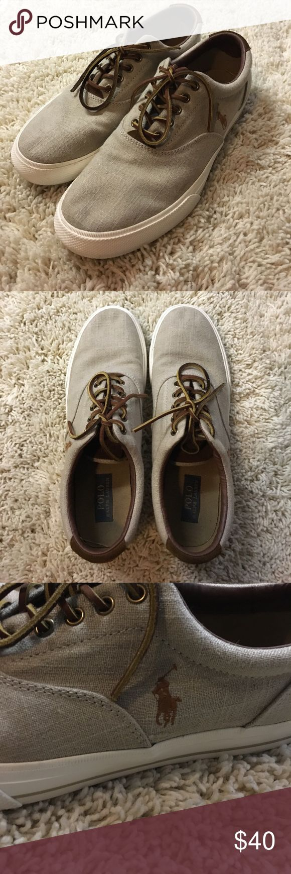 Men's Polo Shoes These shoes are a must have! The detailing alone on these shoes are a statement! Comfortable, but very stylish! Only worn twice! Don't miss out on these! Polo by Ralph Lauren Shoes Sneakers