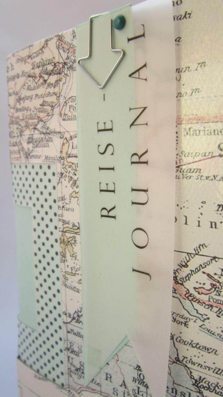 Vorderseite Reise-Journal. Basteln, Buch, Buchbindung, Fächermappe, Heft, Papier, Scrapbooking, Stampin up
