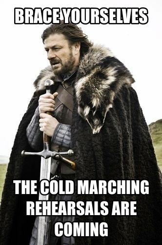 Where are you that it cold right now??? I'm preparing myself to march in 110 degrees weather!