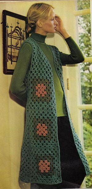 1970's Vintage Crochet Long Granny Vest