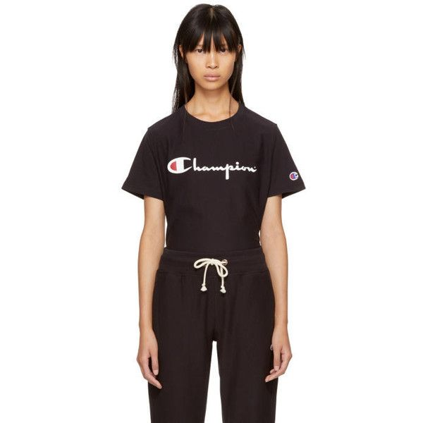 Champion Reverse Weave Black Logo Longline T-Shirt (965 MXN) ❤ liked on Polyvore featuring tops, t-shirts, black, nbk black, logo t shirts, cotton jersey, logo top, short sleeve tops and long line tees
