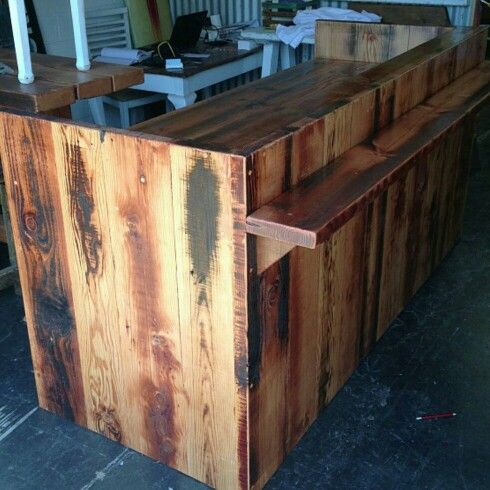 Outdoor recycled wood bar