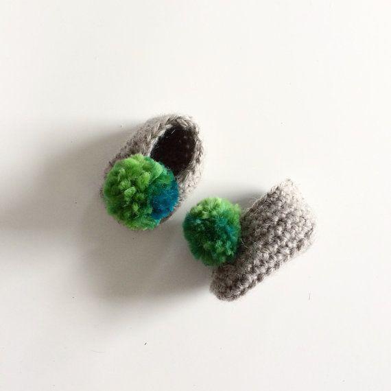 Grey Merino Wool Baby Booties Slippers Green Pom Poms