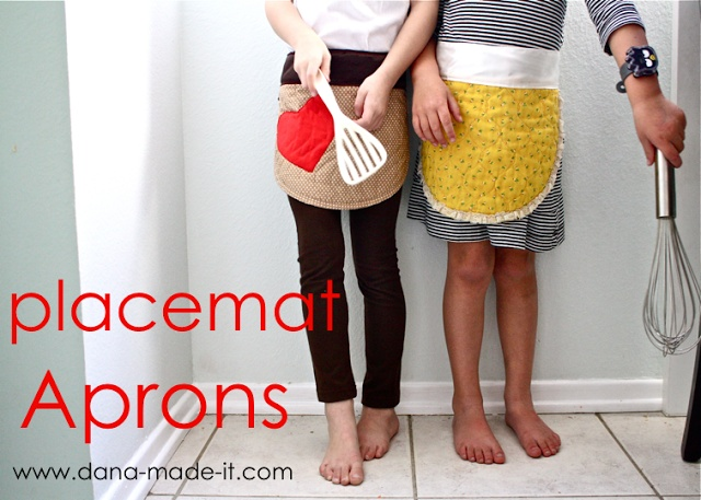 Whip up these darling place mat aprons (from Made)