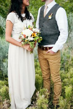 Casual Groom Attire Ideas | Boho gown by Alva. Groom attire by J. Crew.