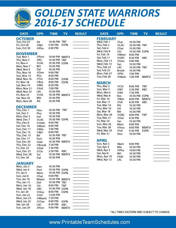 Golden State Warriors Basketball Schedule 2016 - 2017 Print Here - http://printableteamschedules.com/NBA/goldenstatewarriorsschedule.php