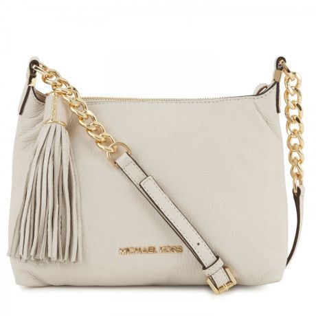 luxury Michael Kors handbag in white color with golden shade.