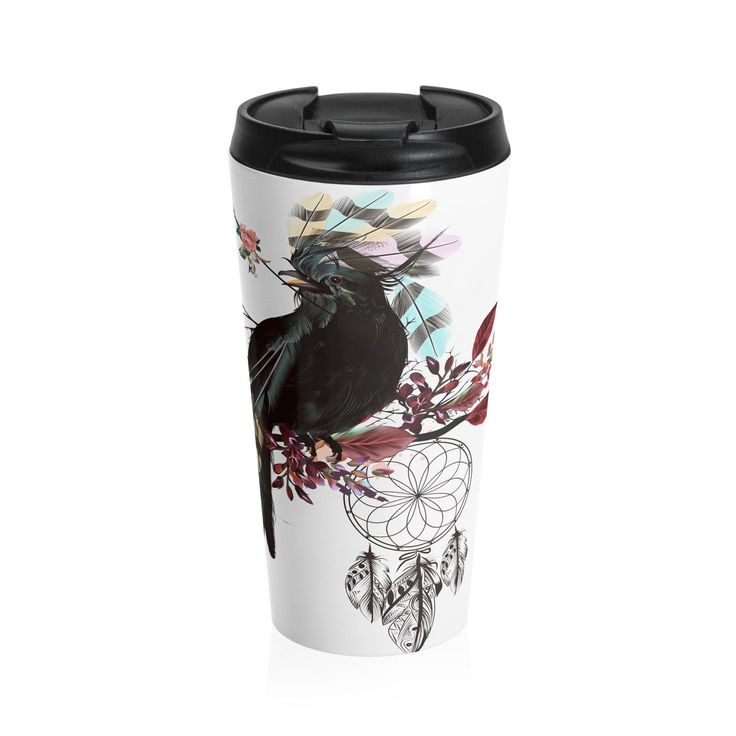 JadeCrate - Black Bird Fly - 15 oz. Thermal Mug