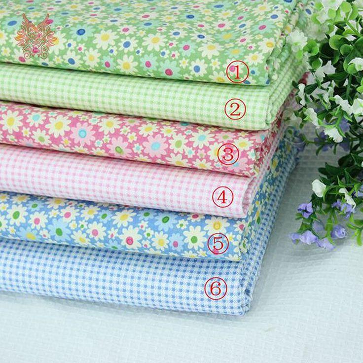 Бесплатная доставка 100% чистый хлопок цветочные / проверки печать ткани для детской одежды, Занавес / постельные принадлежности ткани с размером 48 * 48 см SP633