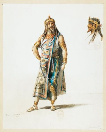 France, Paris, Costume sketch for Amonasro in Aida by Giuseppe Verdi for the performance at Paris, S