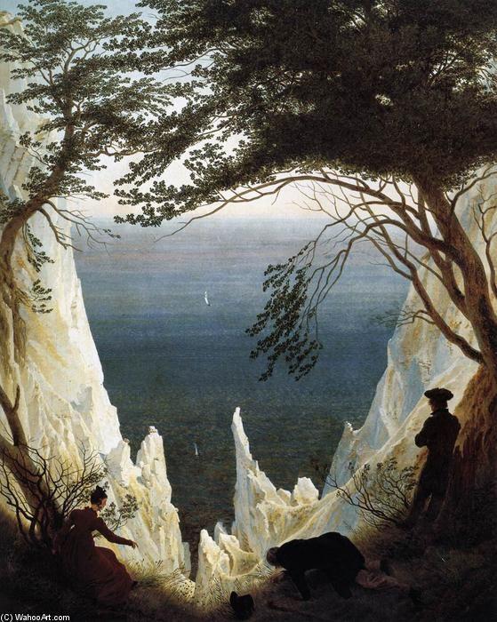 Kreidefelsen auf Rügen (4), öl auf leinwand von Caspar David Friedrich (1774-1840, Germany)