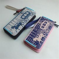 Cartoon Wallet PU Leather Women Rivet Long Wallet Carriage Zipper Wallet