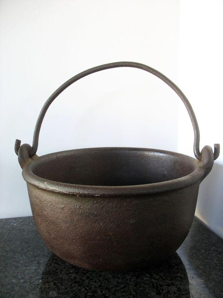 Antique Cast Iron Pot Kettle #7 Forged Handle Primitive Heavy Rimmed Fire Cowboy #unknown