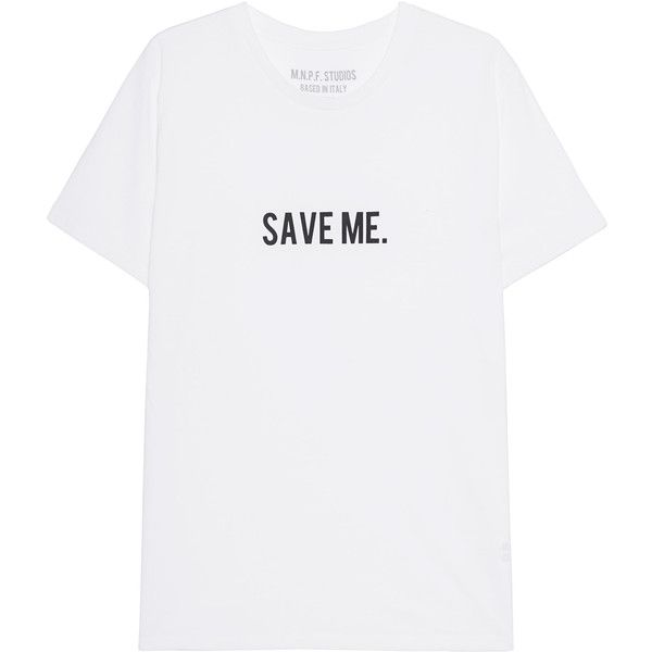 MNPF CLOTHING Save Me White // T-shirt with lettering ($66) ❤ liked on Polyvore featuring men's fashion, men's clothing, men's shirts, men's t-shirts, tops, tees, blusas, mens cotton shirts, mens white t shirts and mens cotton t shirts