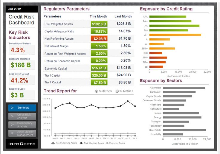 Infocepts microstrategy credit risk analysis dashboard for Banking dashboard templates